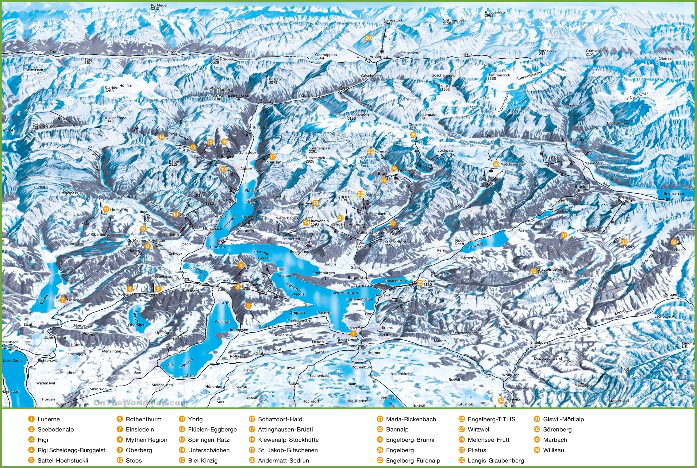 Lucerne ski resorts map
