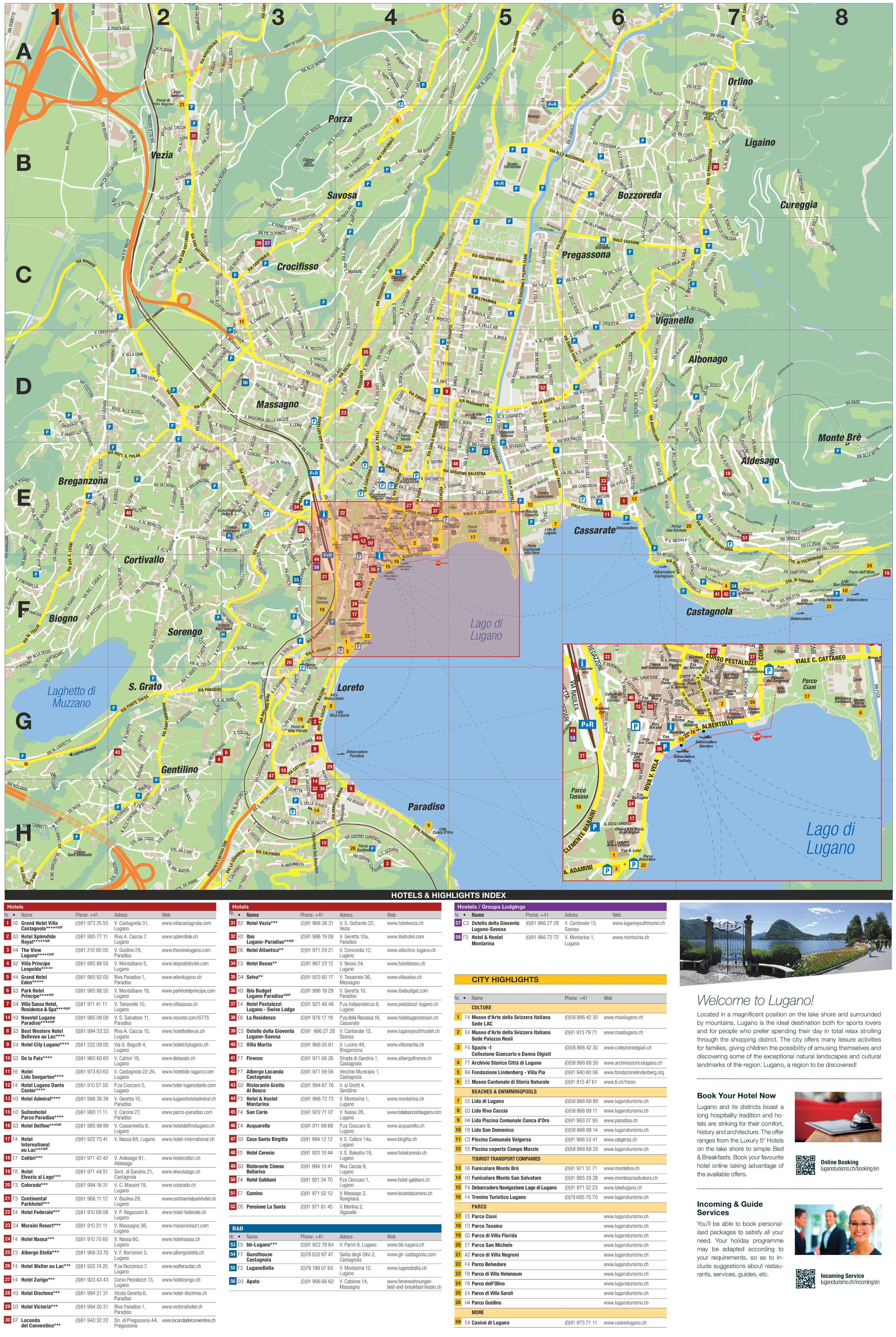 Lugano hotels and sightseeings map