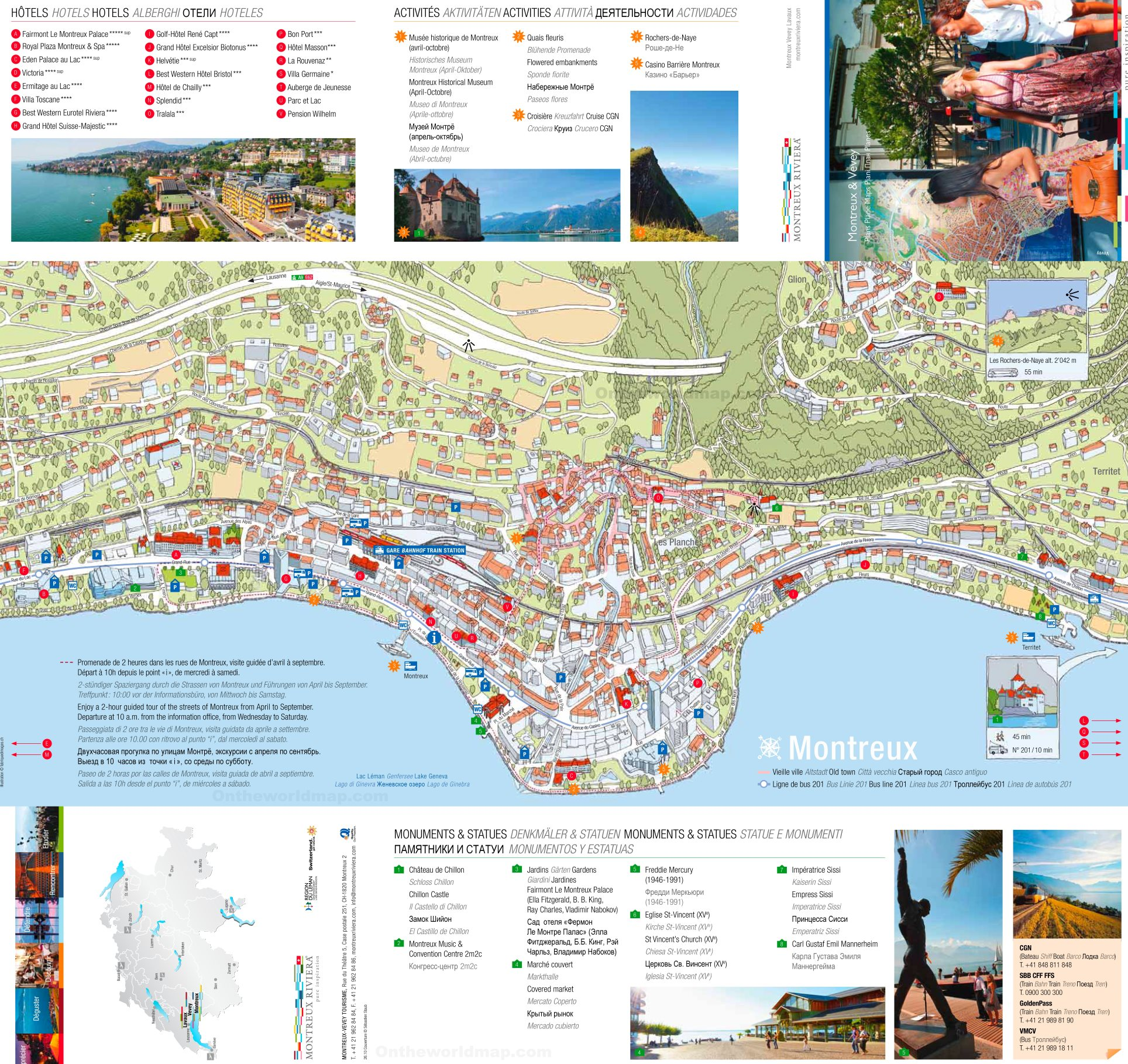 Montreux Hotels and Sightseeings Map