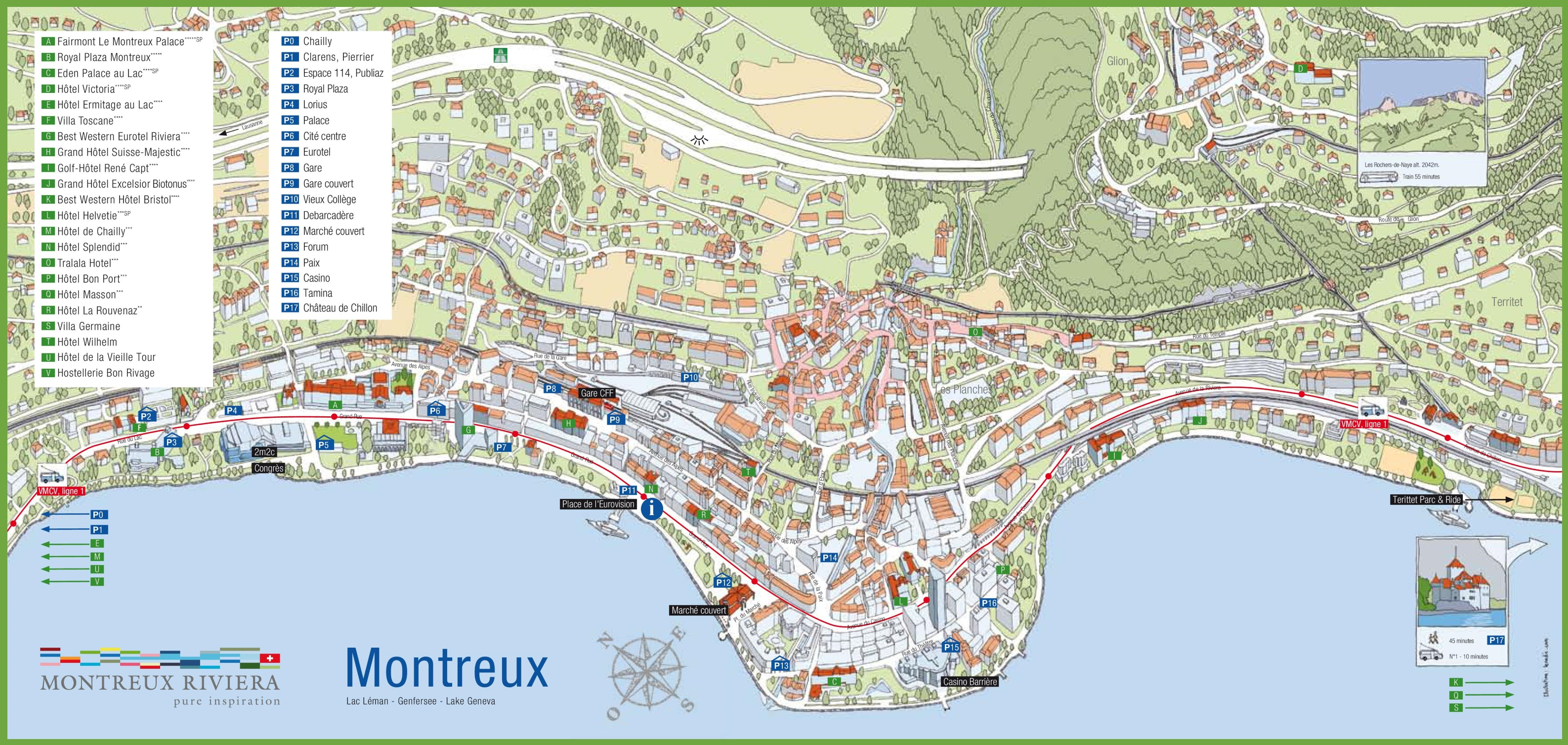 Montreux tourist map