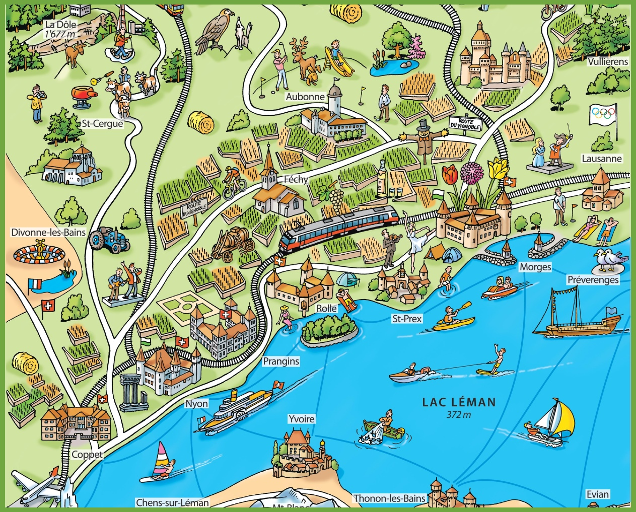 Tourist map of surroundings of Nyon