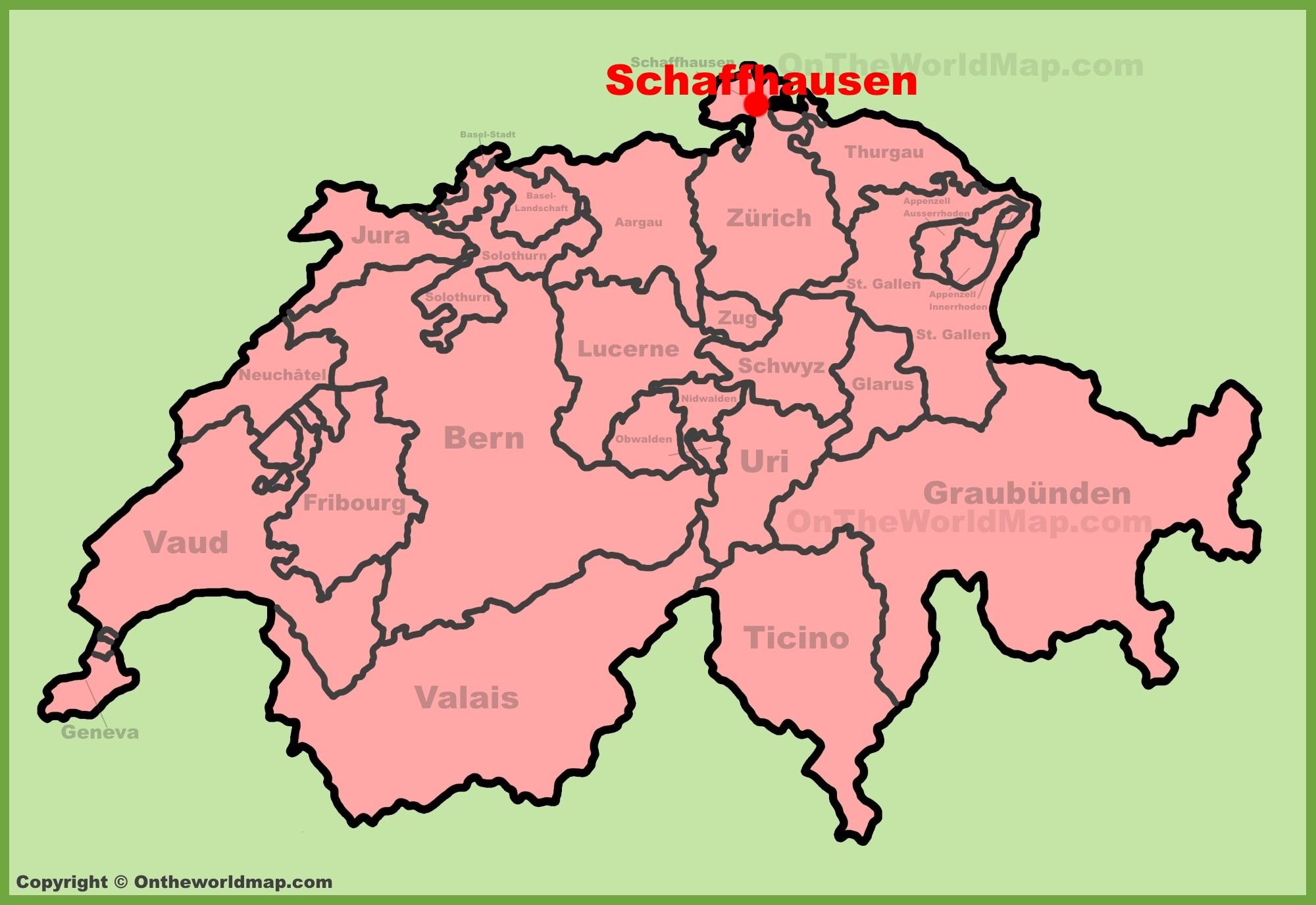 Schaffhausen location on the Switzerland map