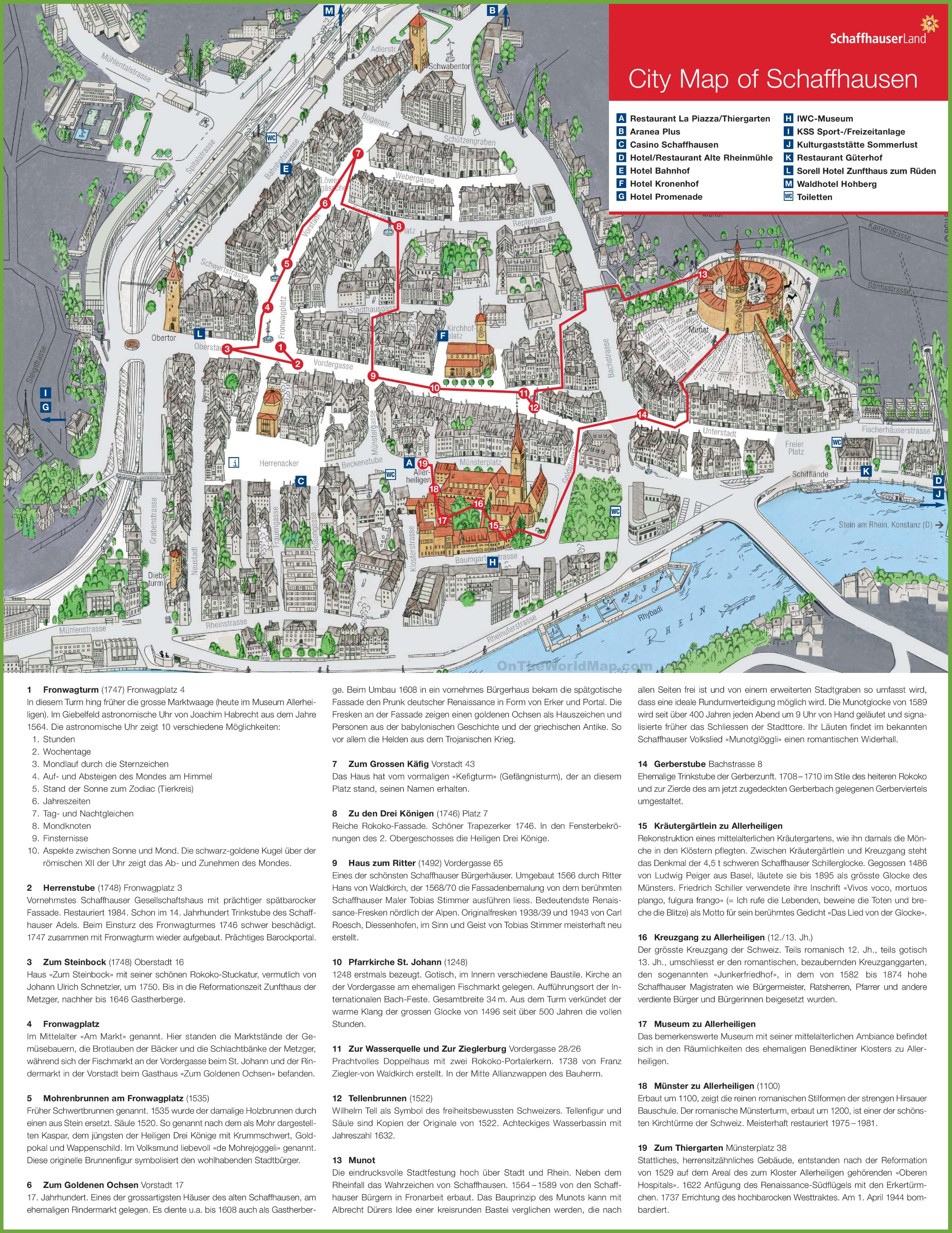 Schaffhausen tourist map – Tourist Map of Switzerland
