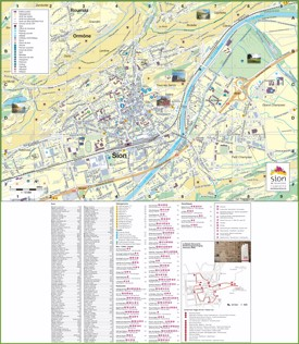 Large detailed tourist map of Sion
