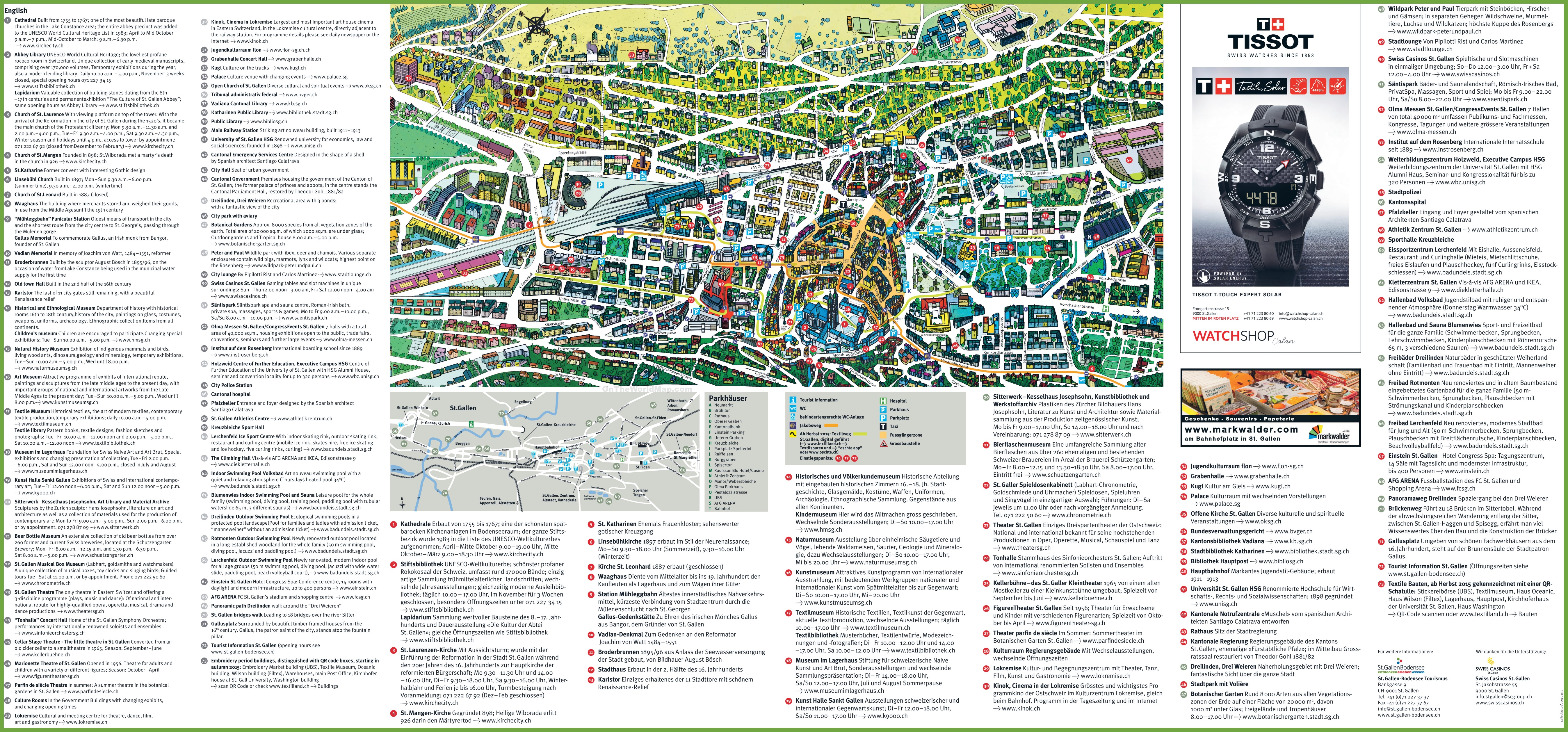 Large detailed tourist map of St Gallen