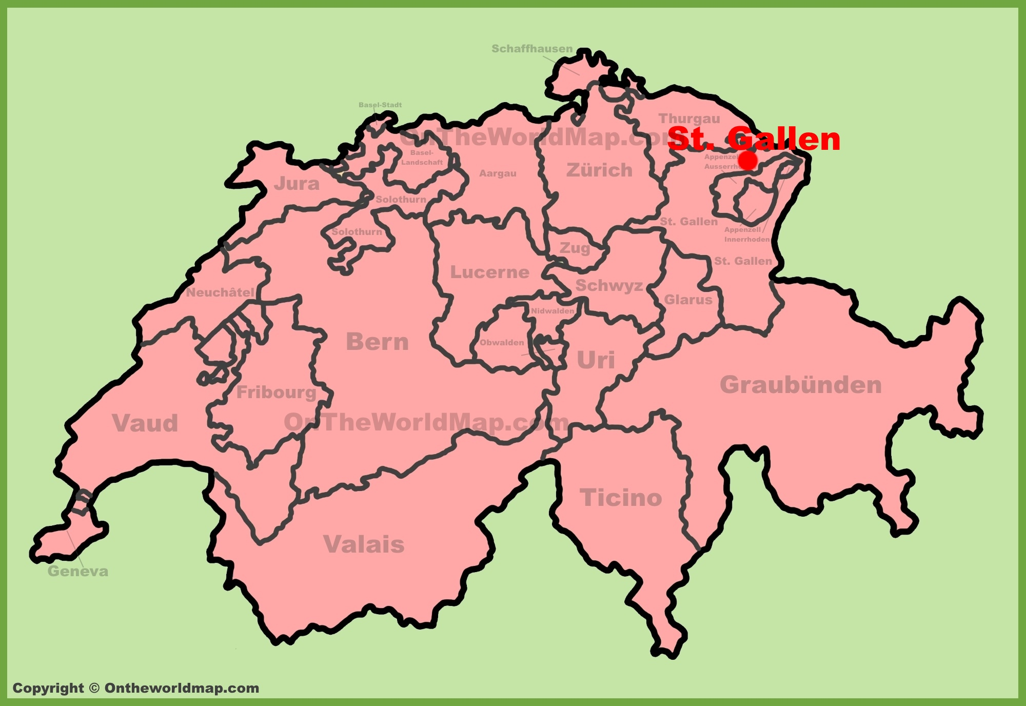 St Gallen location on the Switzerland map