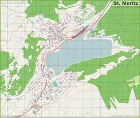 Large detailed map of St. Moritz