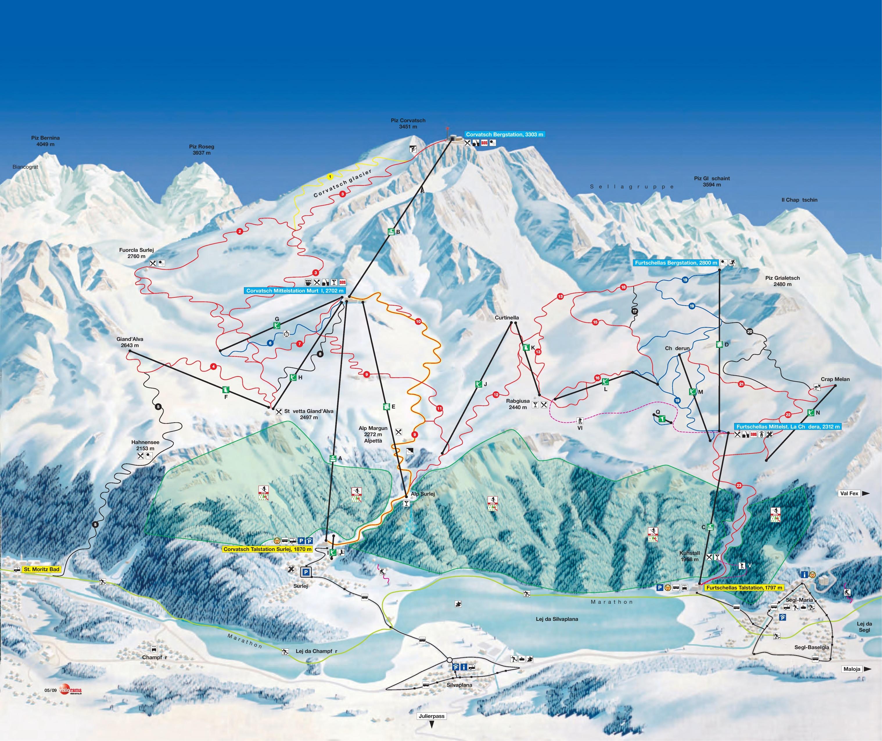 St Moritz Corvatsch piste map