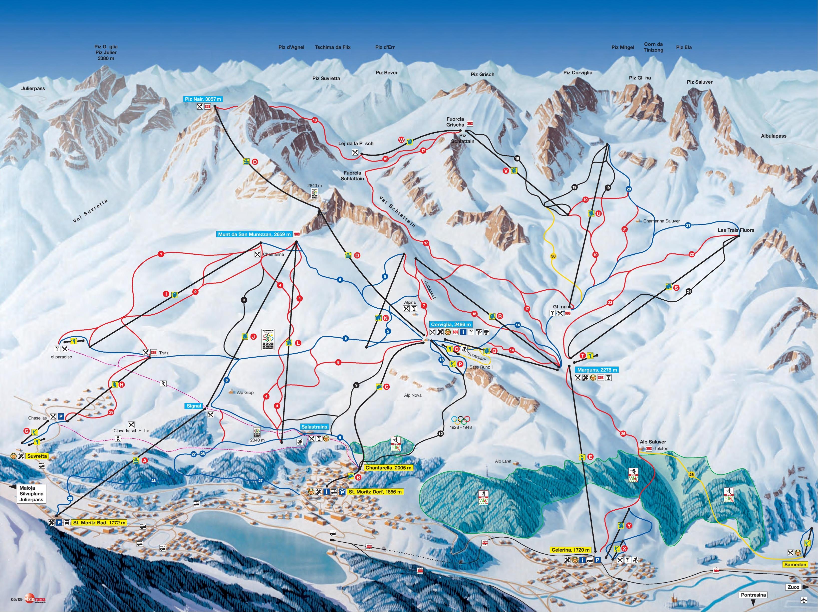 St Moritz Corviglia piste map