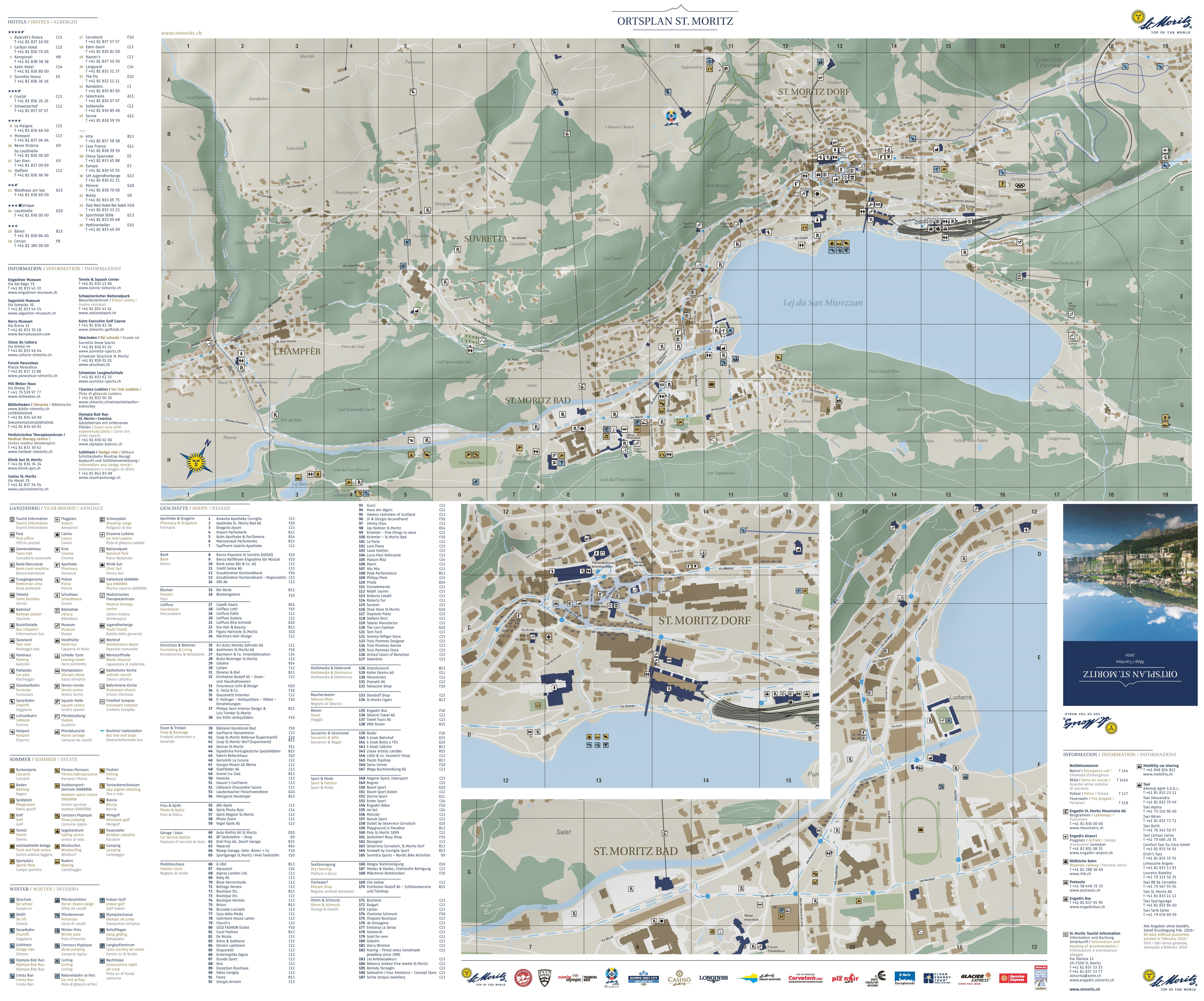 St. Moritz tourist attractions map