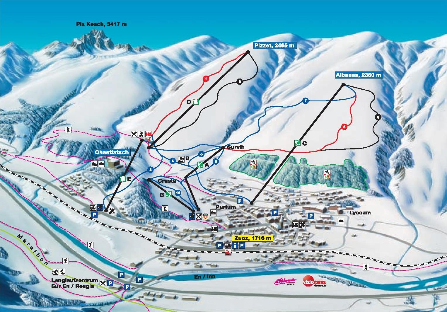 St Moritz Zuoz piste map