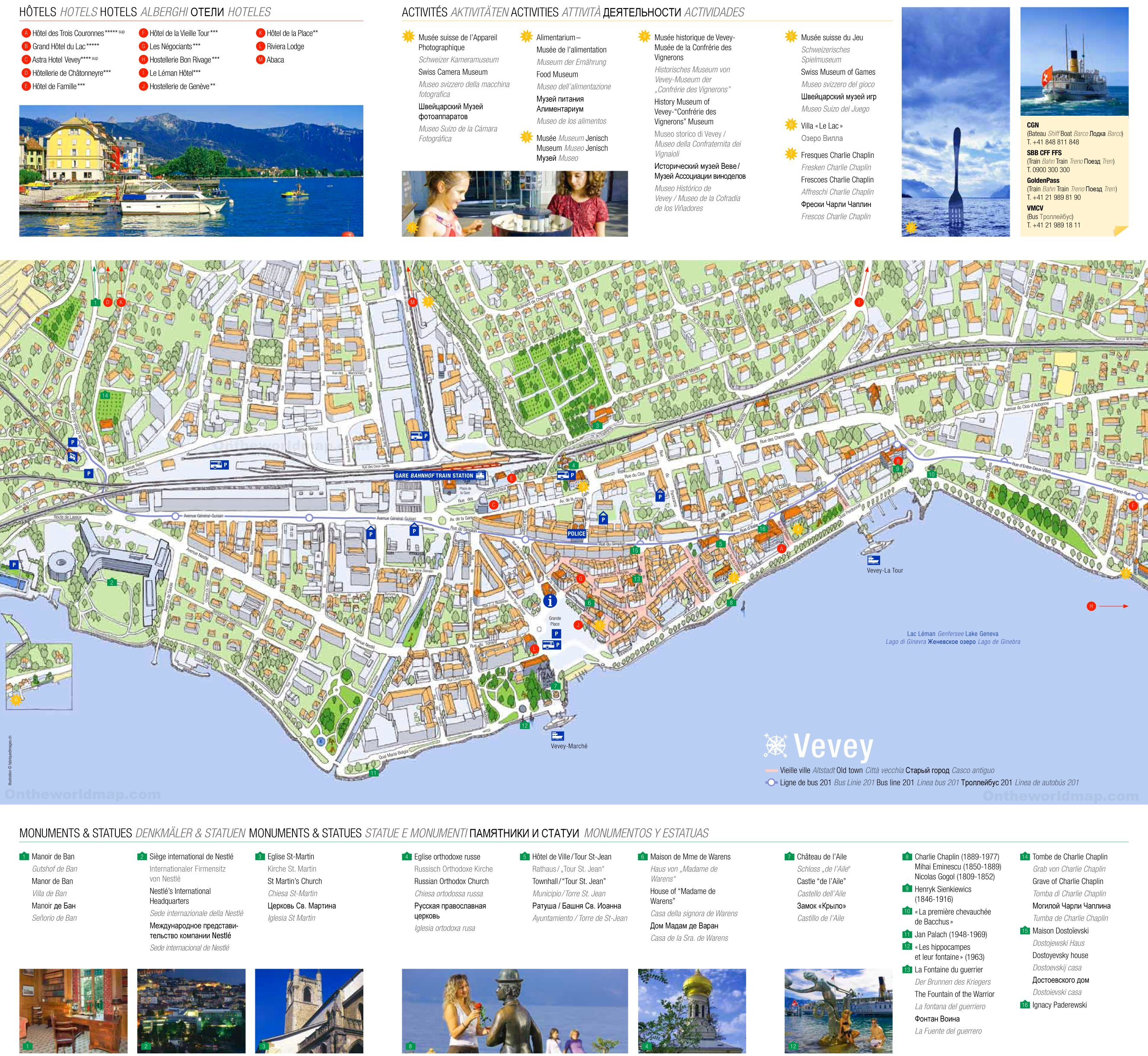 Vevey Hotels And Sightseeings Map