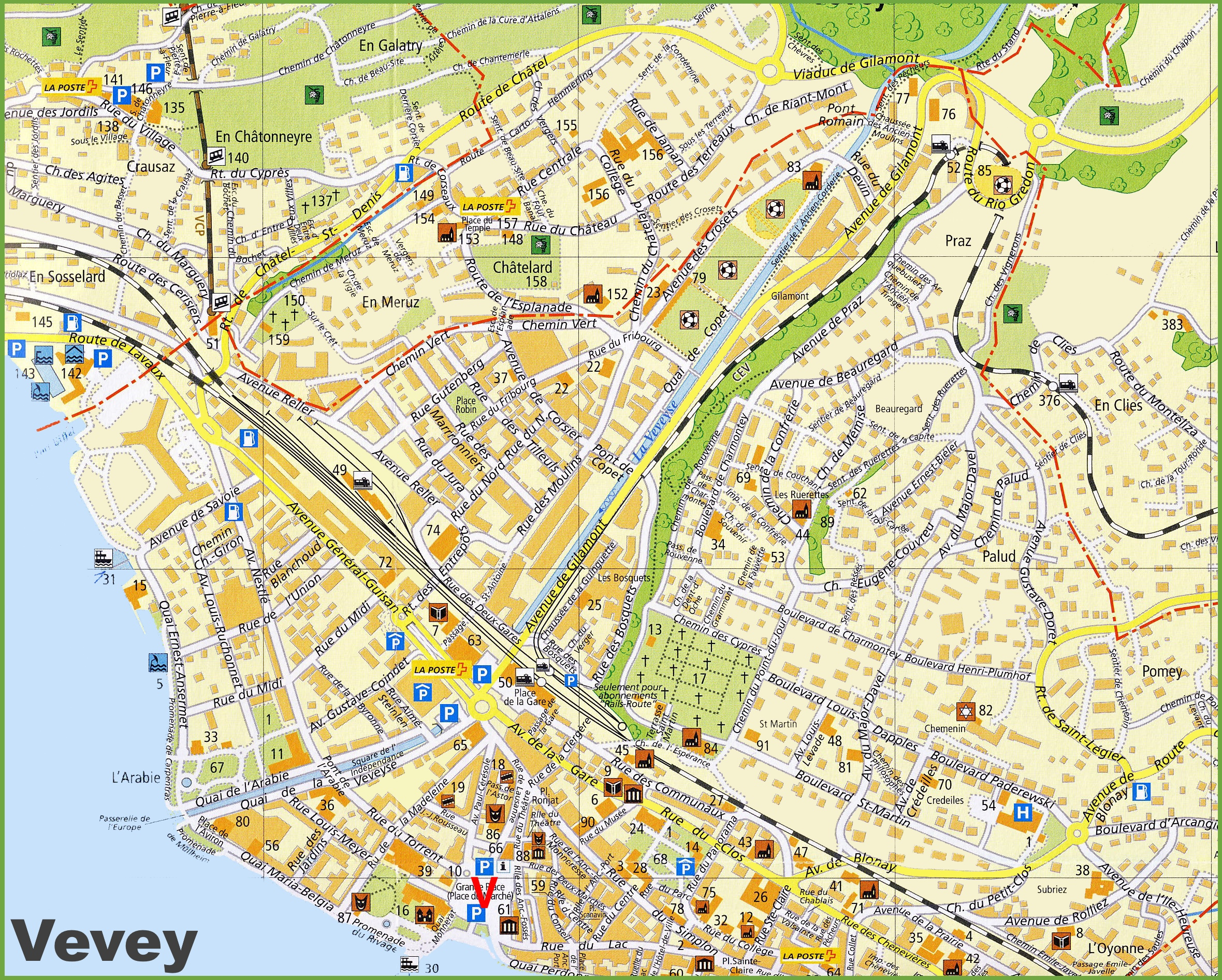 Vevey tourist map