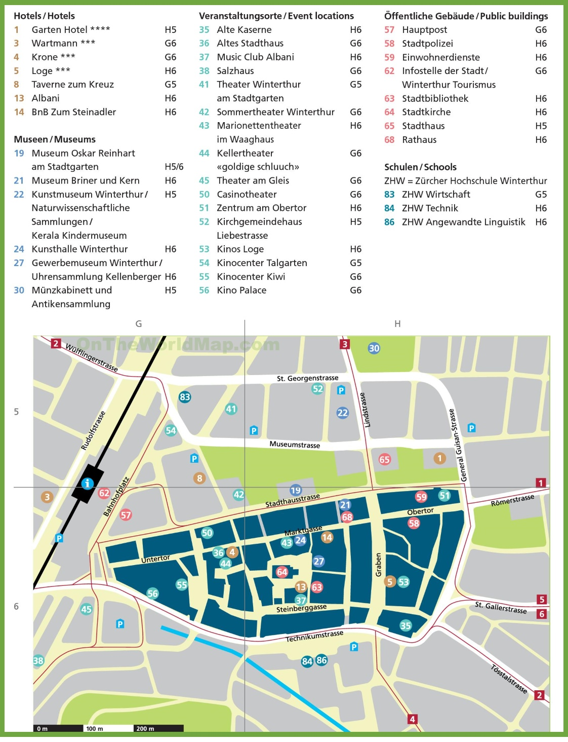 Winterthur hotels and sightseeings map