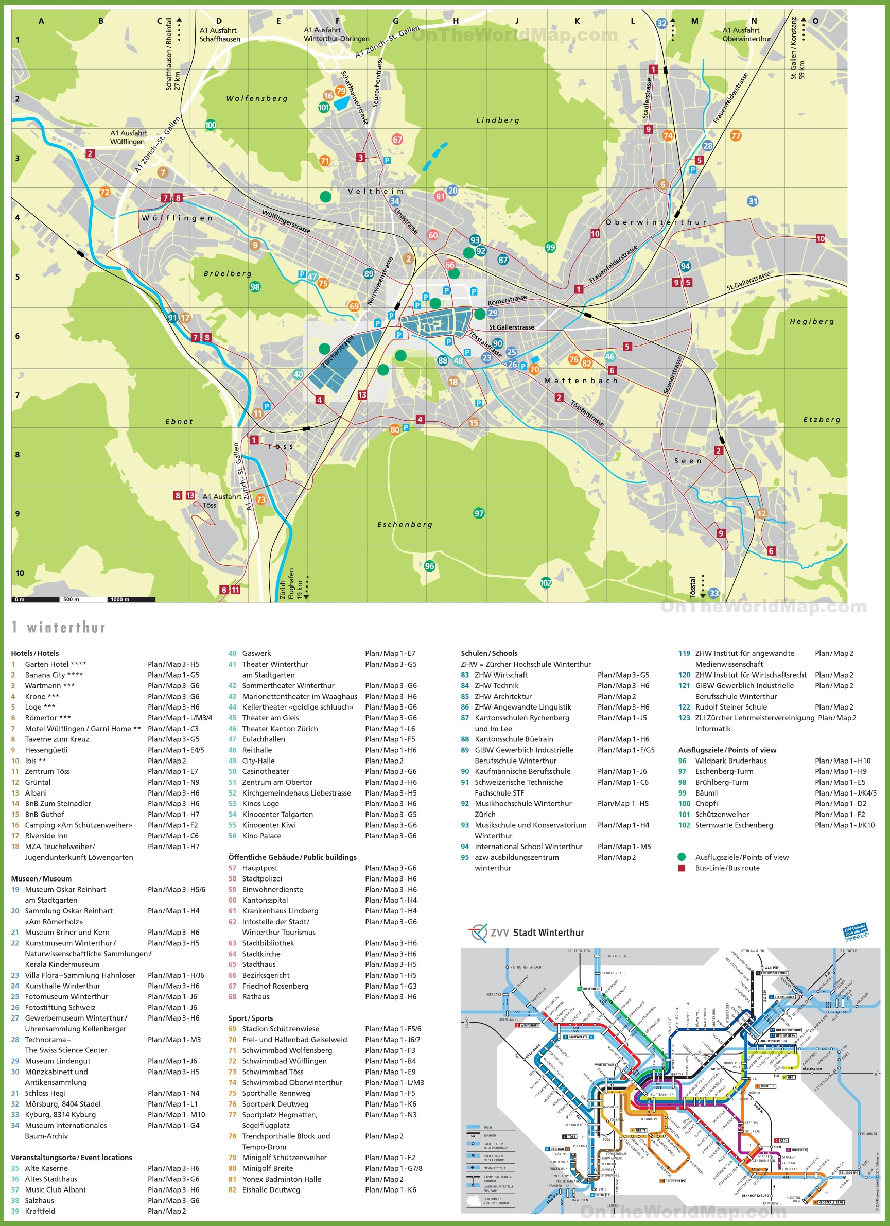 Winterthur tourist map