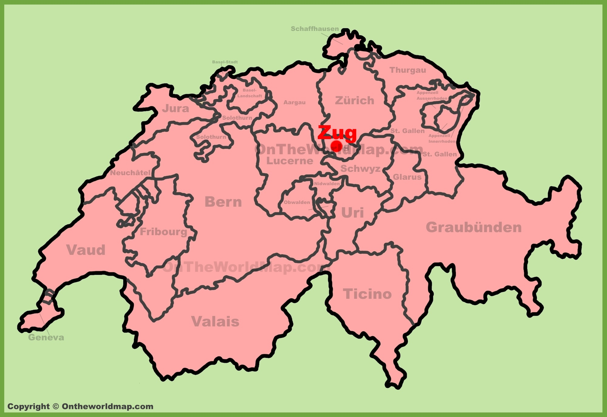 Zug location on the Switzerland map