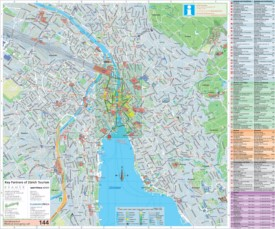 Large detailed tourist map of Zürich