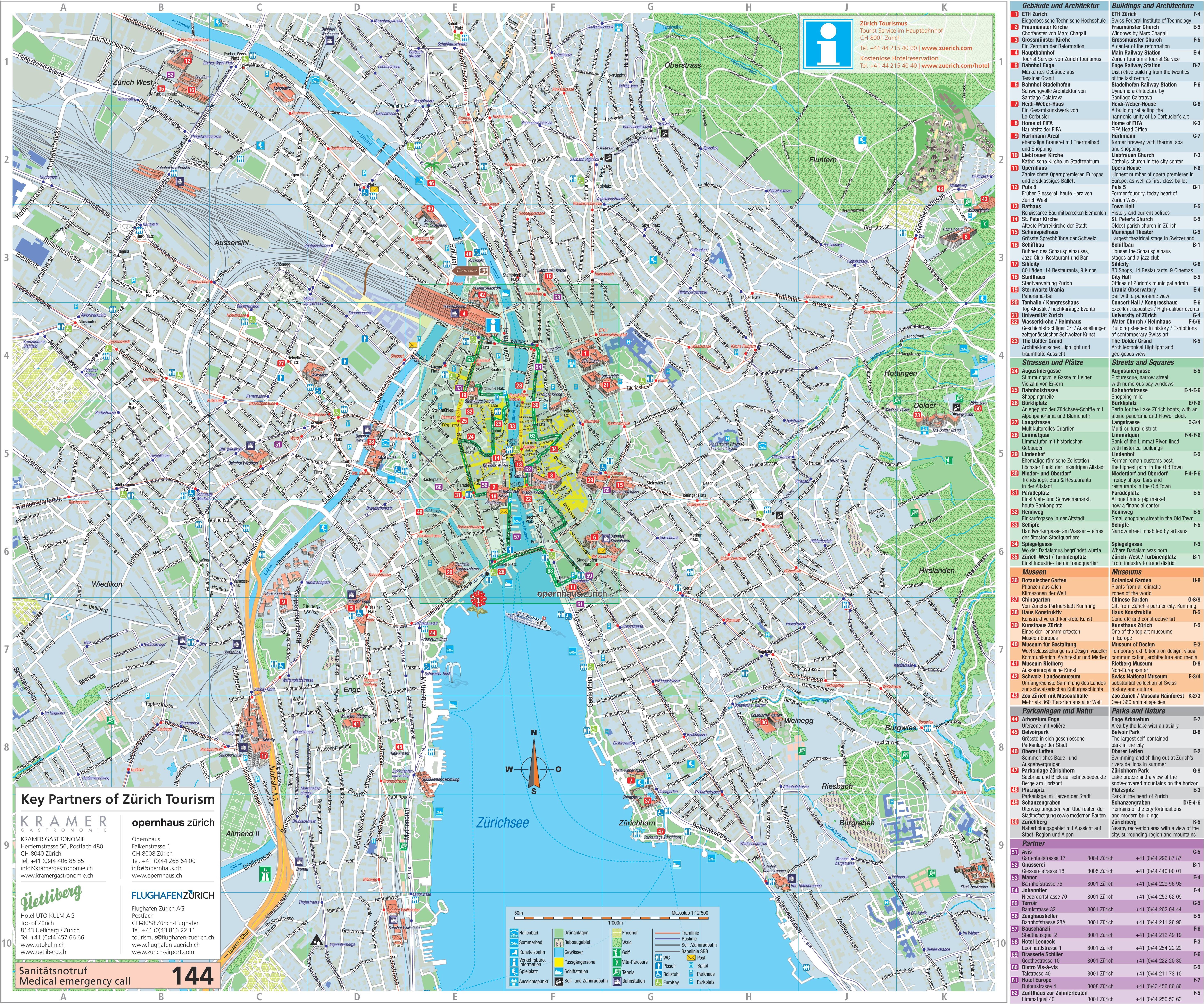 Map Of Zurich Large detailed tourist map of Zürich Map Of Zurich