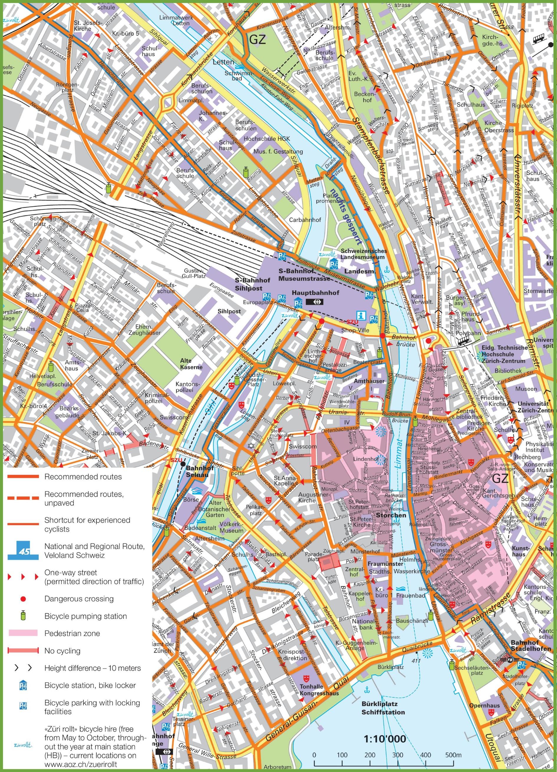Zrich bike map