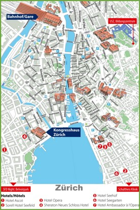 Zürich city center map