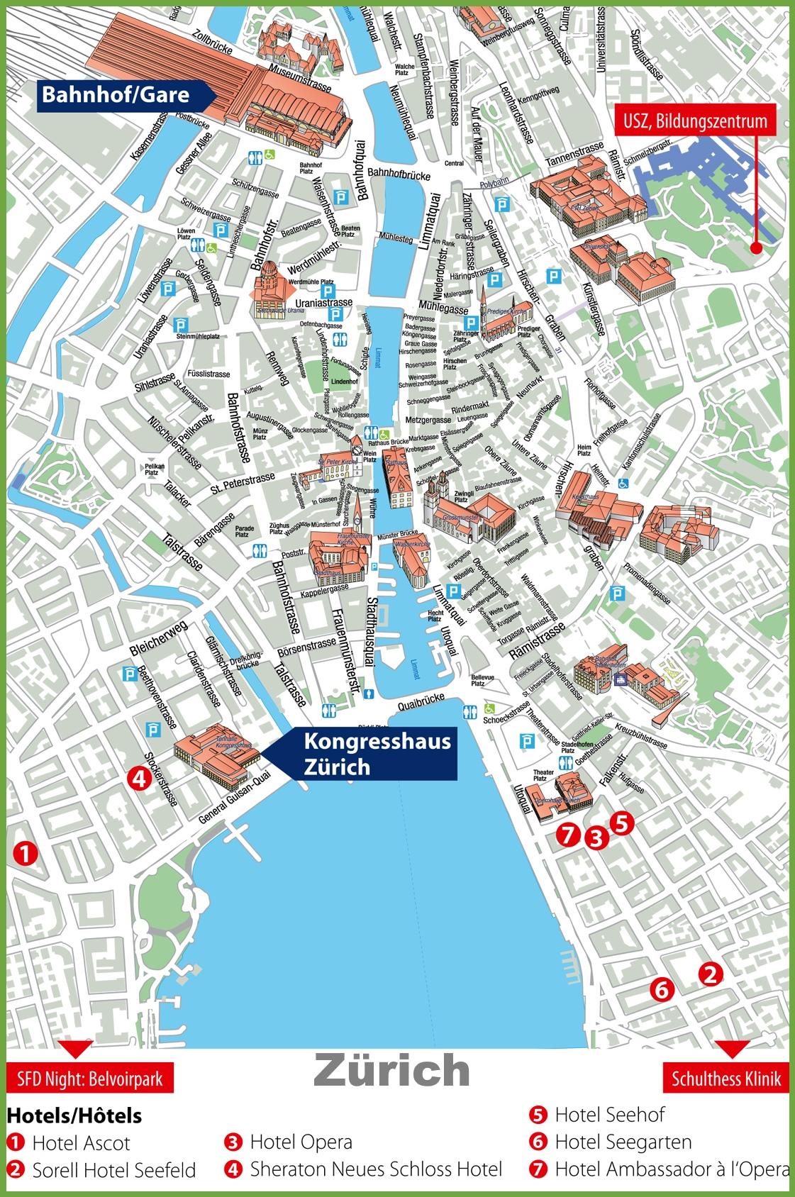 Map Of Zurich Zürich city center map Map Of Zurich