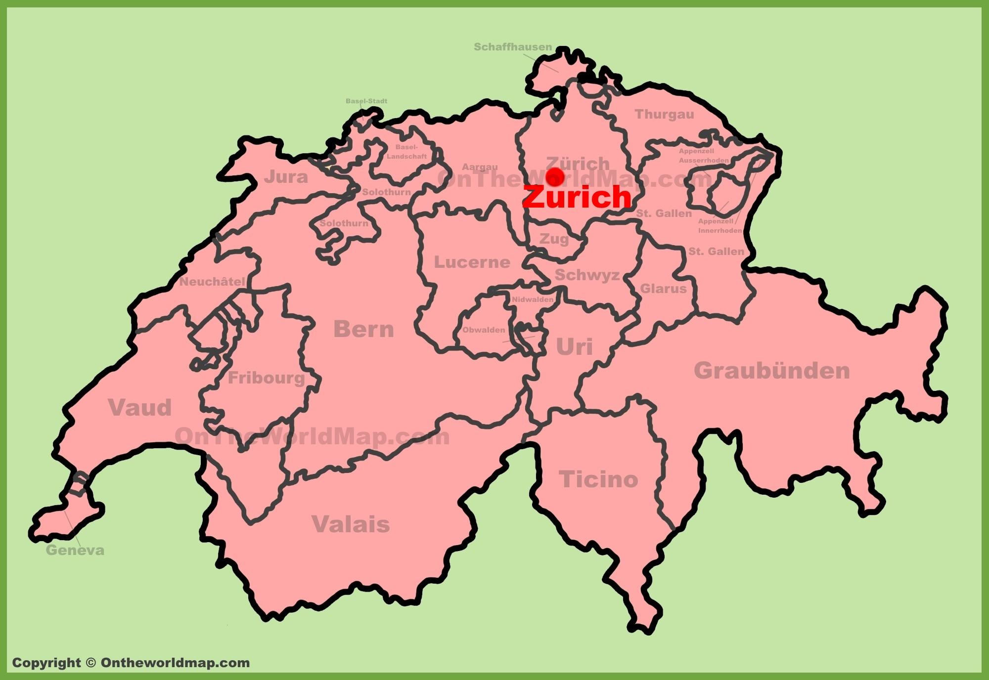 Zurich Switzerland Map Zürich location on the Switzerland map