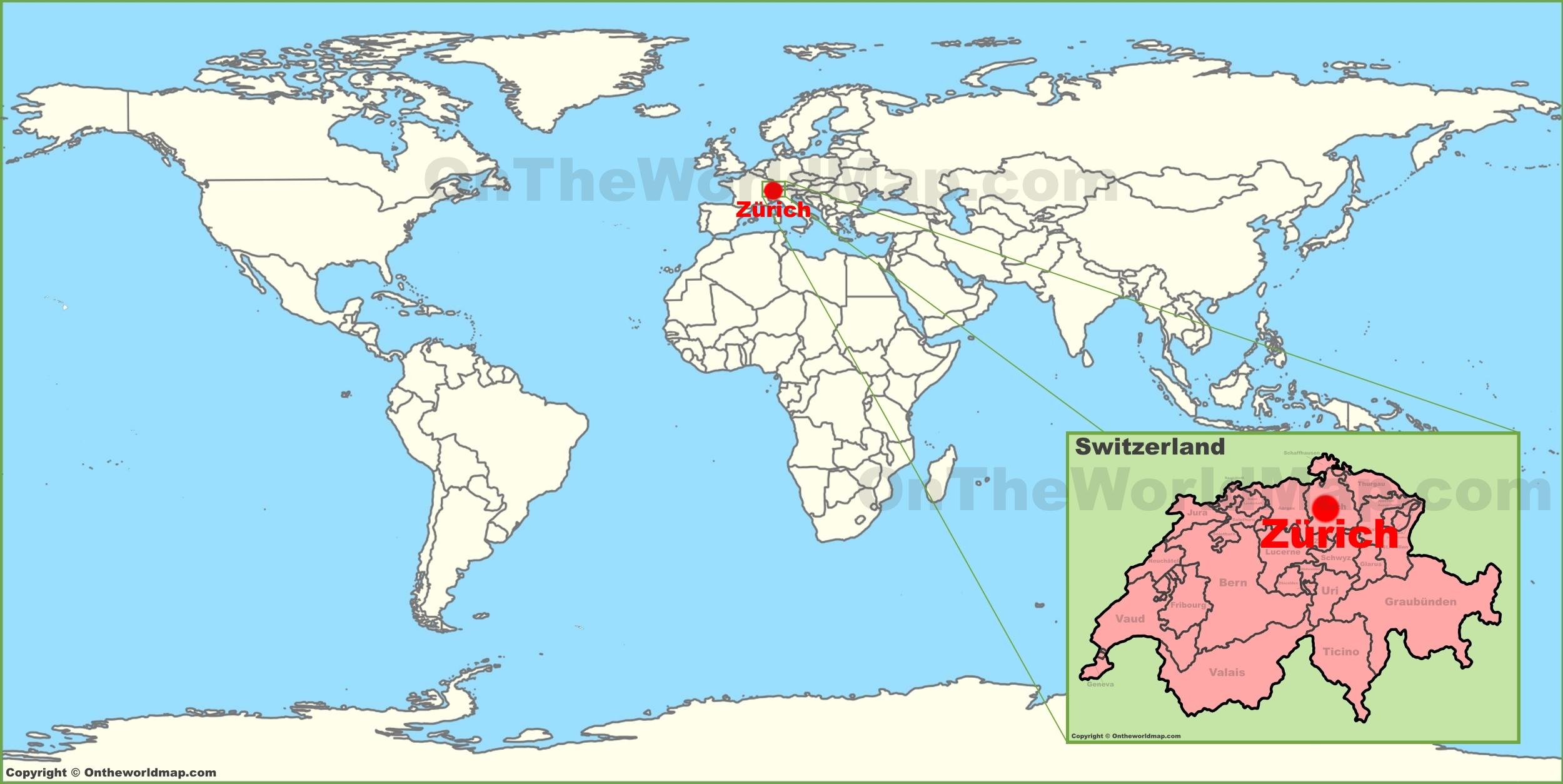 Zurich Switzerland Map Zürich on the World Map