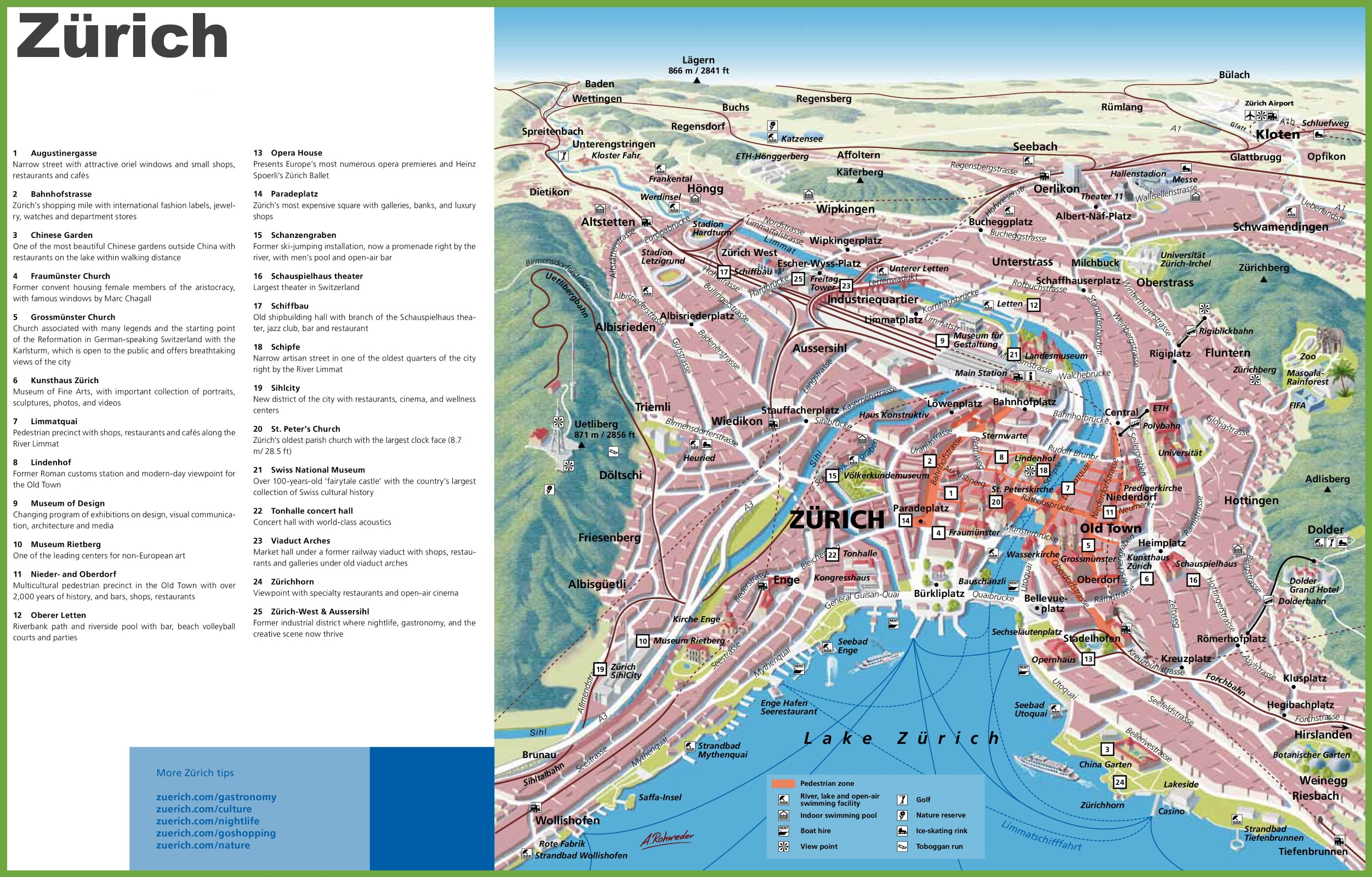 Map Of Zurich Zürich sightseeing map Map Of Zurich