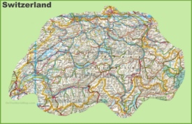 Large detailed map of Switzerland with cities and towns