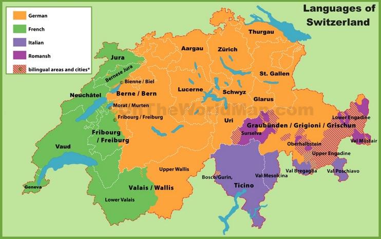 Map of languages in Switzerland