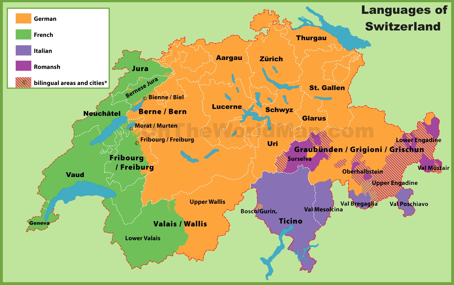 Switzerland Language Map Map of languages in Switzerland