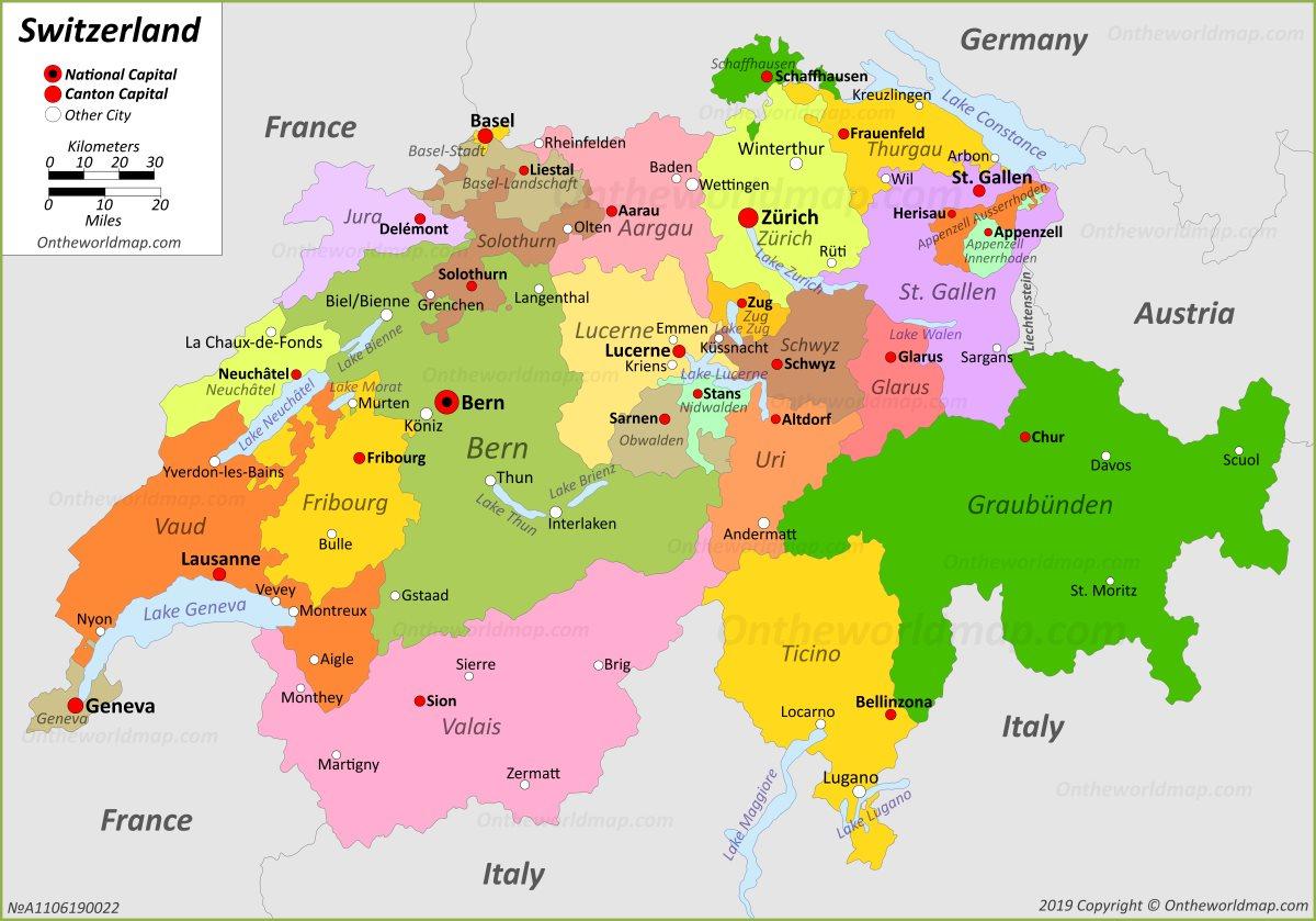 switzerland location in europe map Switzerland Maps | Maps of Switzerland