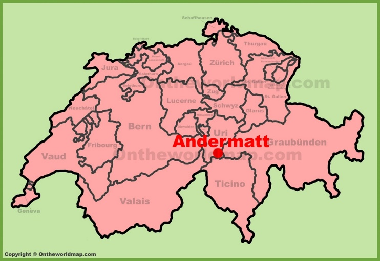 Andermatt location on the Switzerland map