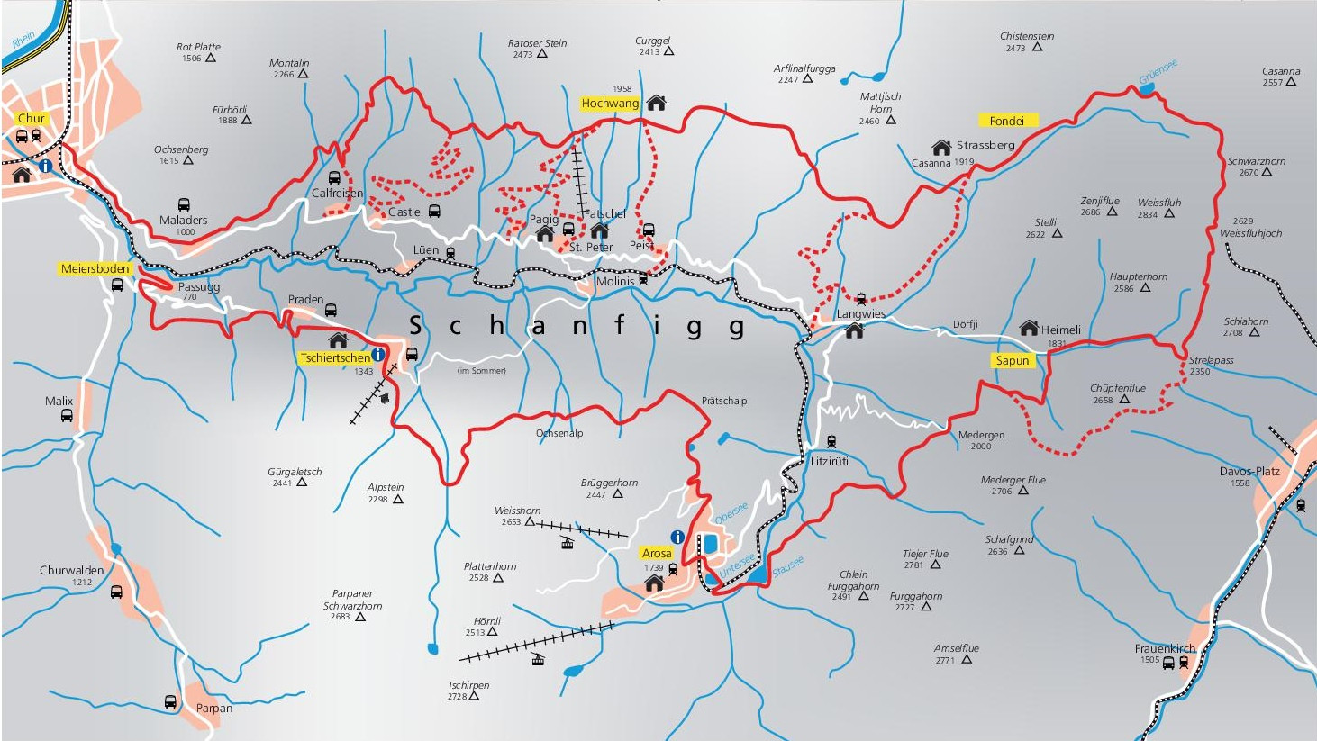 Arosa surroundings map