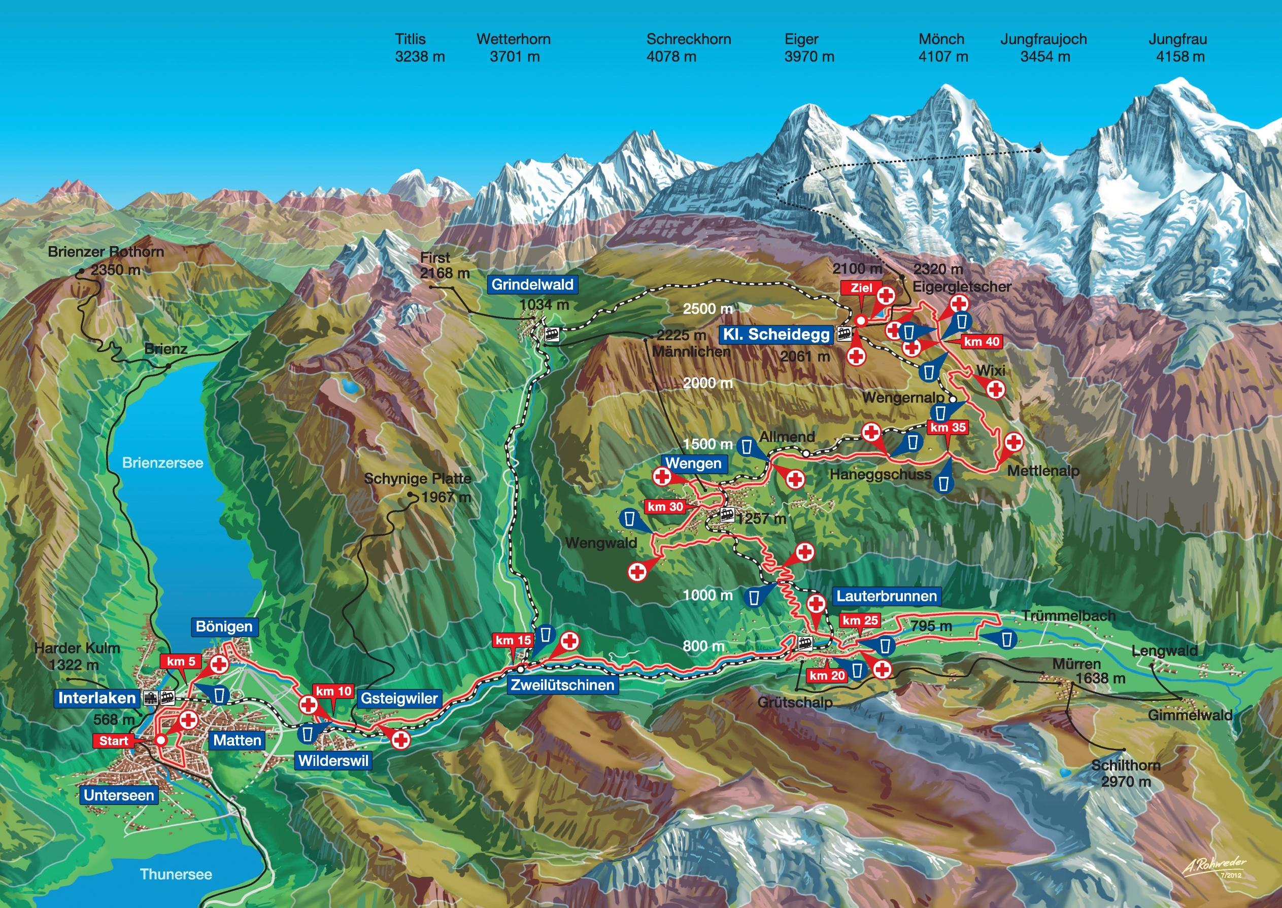 Jungfrau hiking map