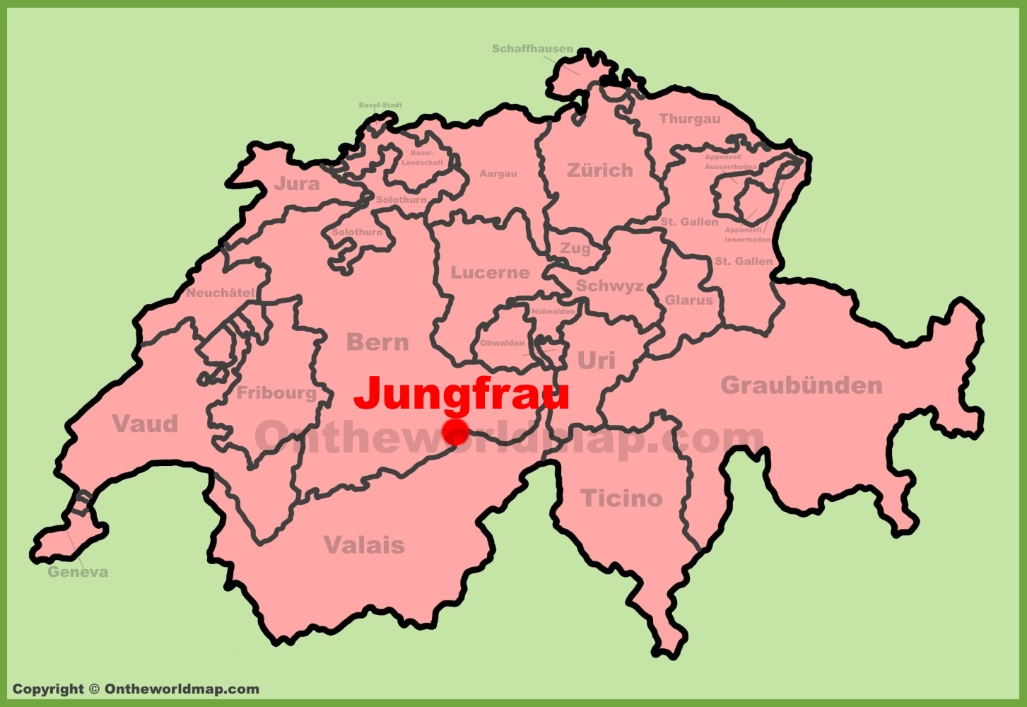 Jungfrau location on the Switzerland map