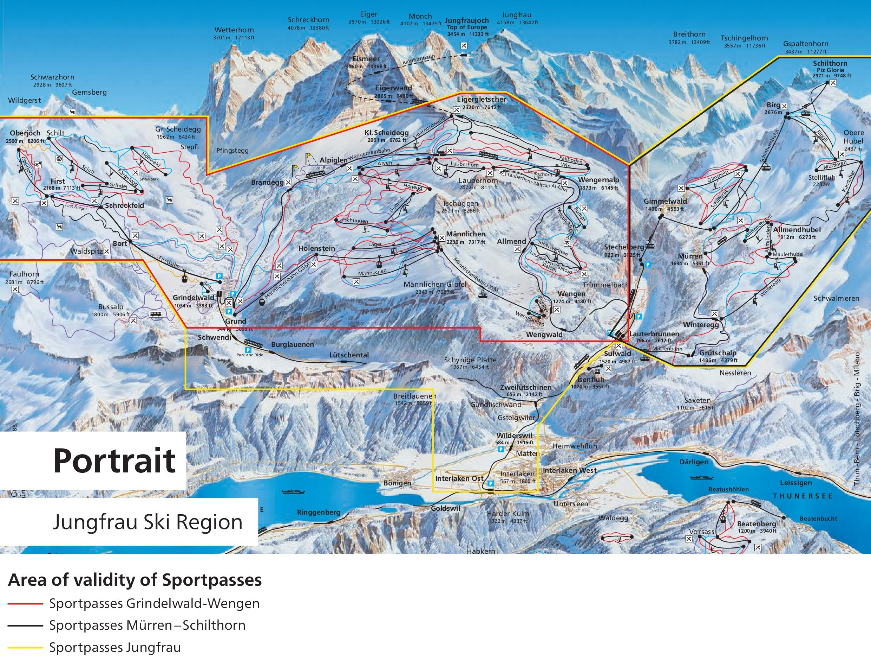 Jungfrau ski map