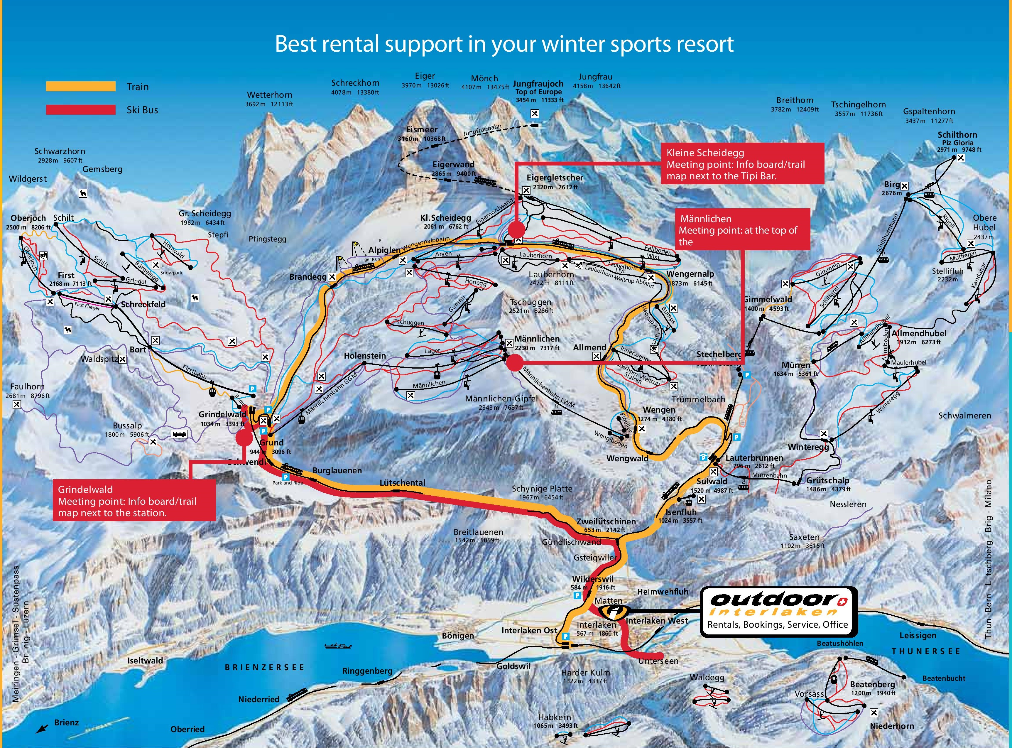 Jungfrau train map
