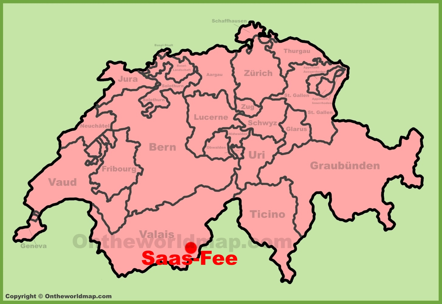 SaasFee location on the Switzerland map