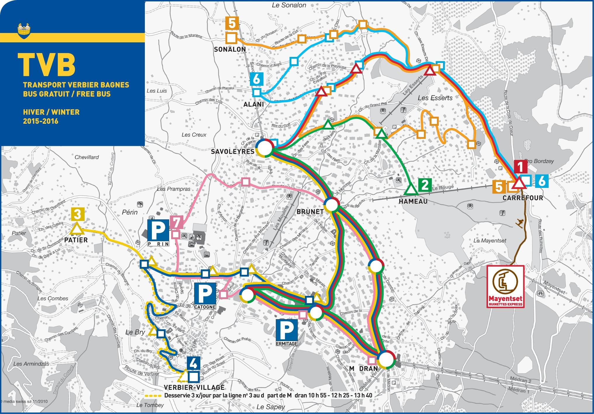 Verbier bus map