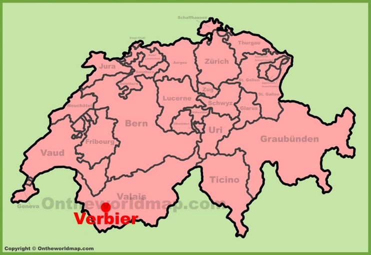Verbier location on the Switzerland map