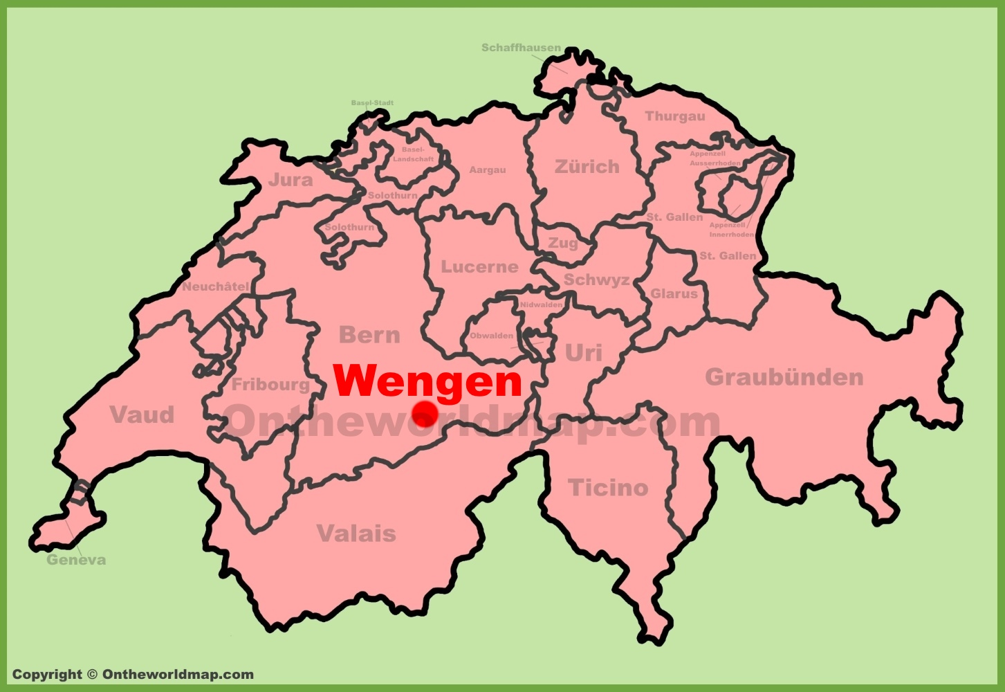 Wengen location on the Switzerland map