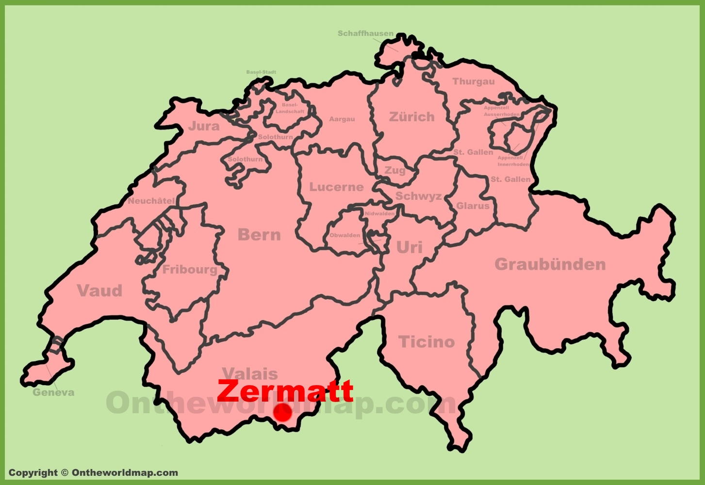 Zermatt location on the Switzerland map