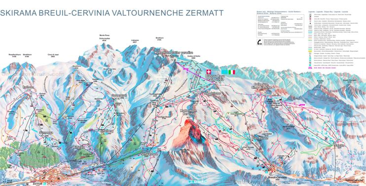 Zermatt - Cervinia Piste Map
