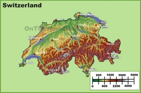 Switzerland physical map