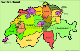 Switzerland political map