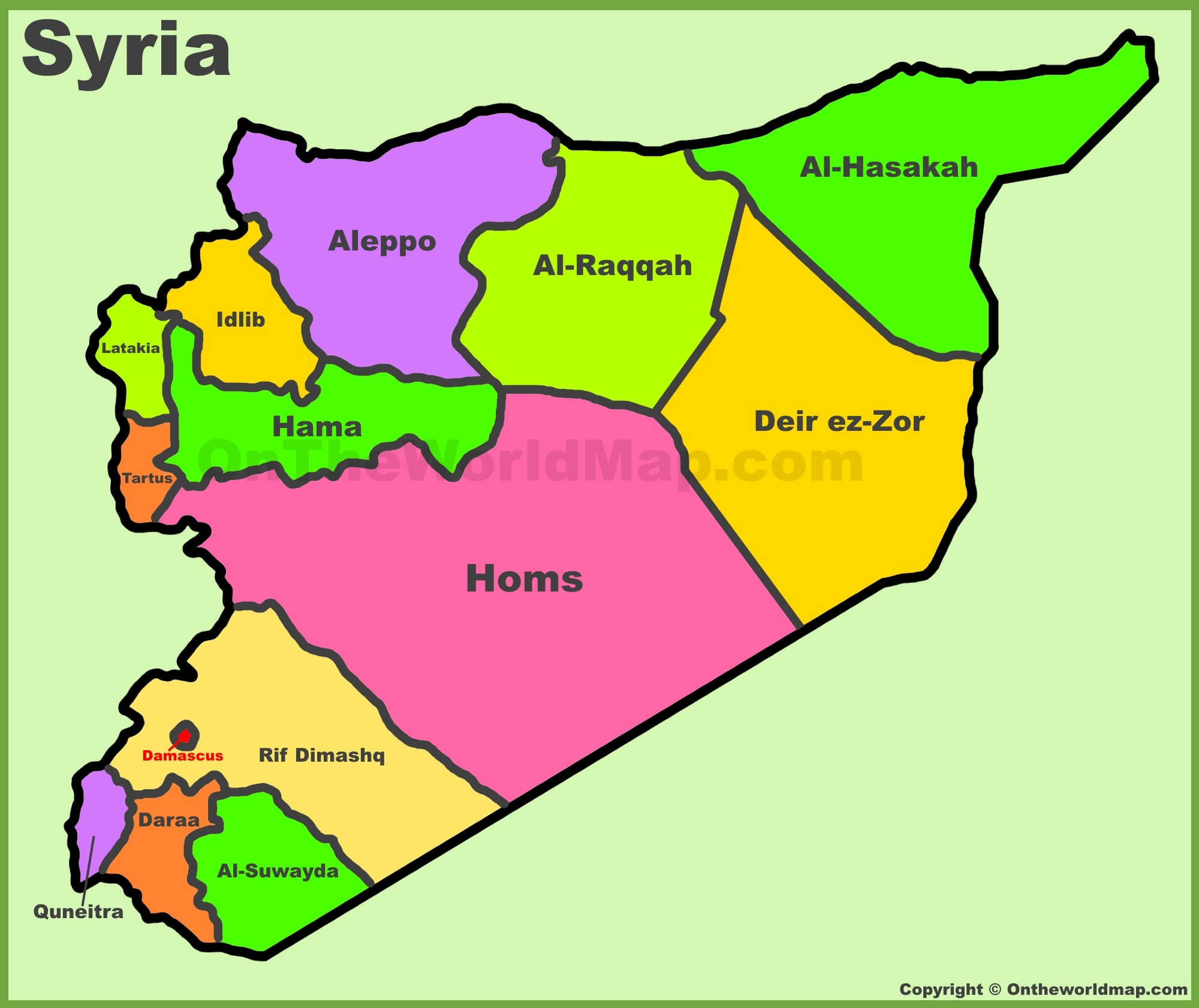 Administrative divisions map of Syria