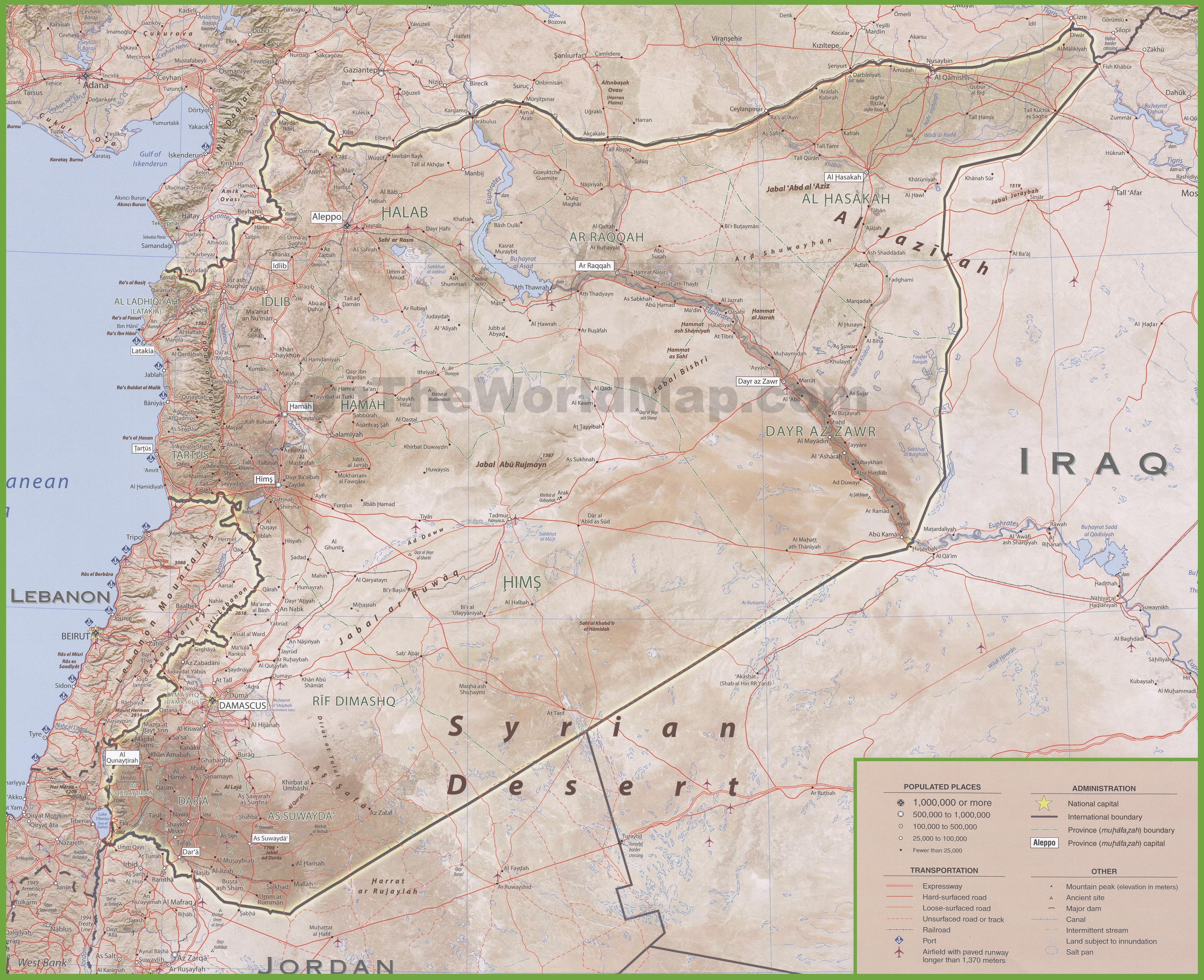 Large Detailed Map Of Syria With Cities And Towns - Map of alabama with cities and towns