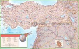 Map of Syria, Iraq and Turkey