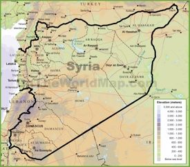 Syria physical map